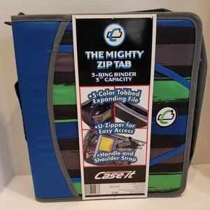 Mighty Zip Tab Binder with Carrying Strap …